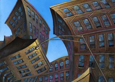 "Urban Undulations II, oil on canvas 42""x30"""