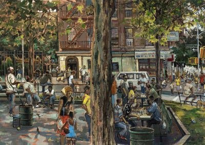 "Burnside Park, oil on canvas 24"" x 68"""