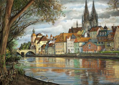 "Regensburg Reflections, oil on canvas 23.5"" x 35.5"""