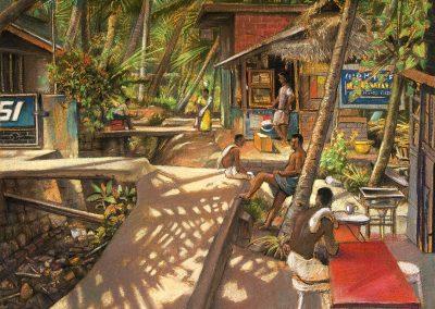 "Tea Shop, Kovalam, pastel on paper 16.5"" x 21"""
