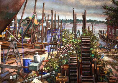 "Greenport Shipyard, pastel on paper, 18"" x 24"""