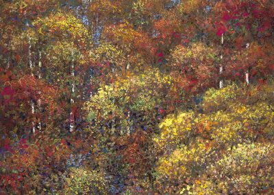 "Autumnal Trees, pastel on paper 20""x 13"""