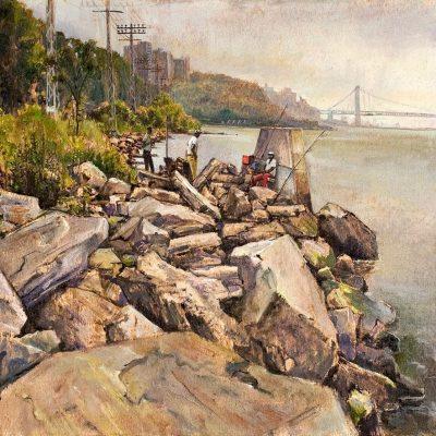 Print of Fishing the Hudson by Daniel Hauben