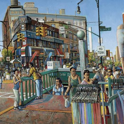 Oil painting of street scene depicting subway exit at the Hub on a summer day by Daniel Hauben