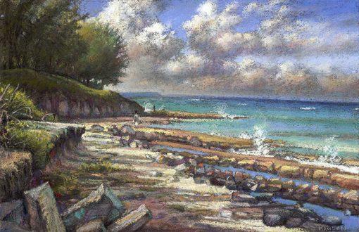 "Bahamas Beach (Eleuthera) 14"" x 22"" pastel on paper"