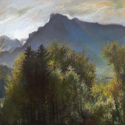 "Bergheim Blick (Austria) 16"" x 14"" pastel on paper"