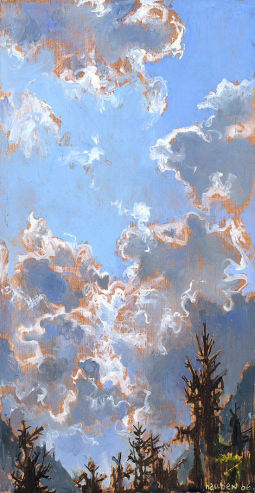 """Clouds Over Bavaria II (Germany) 17"""" x 9"""" oil on paper"""