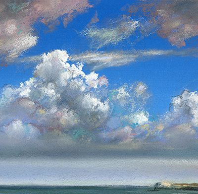 "Clouds and Island (Bahamas) 7"" x 13"" pastel on paper"