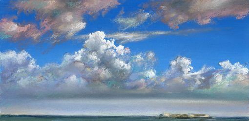 """Clouds and Island (Bahamas) 7"""" x 13"""" pastel on paper"""