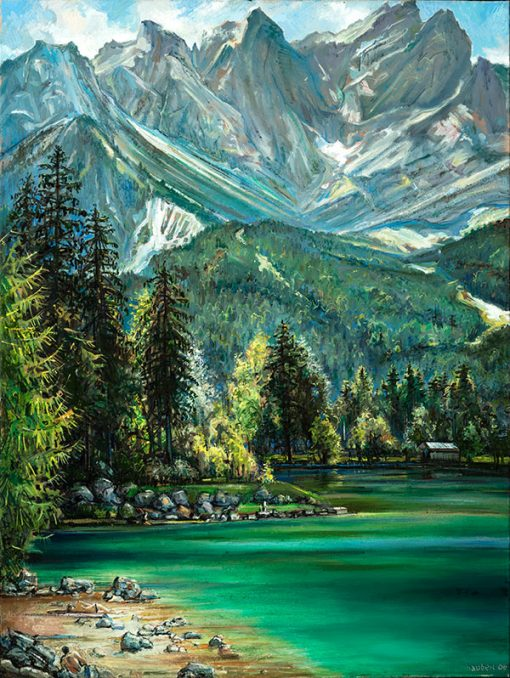 "Eibsee (Germany) 32"" x 24"" oil on canvas"