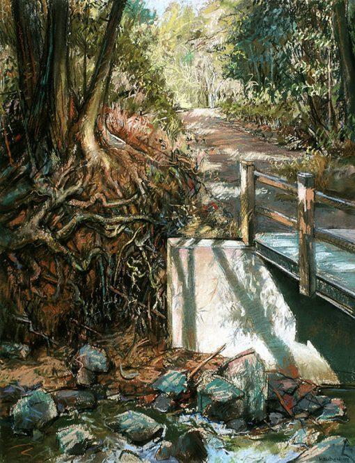 "Footbridge & Shadows (California) 30"" x 22"" pastel on paper"