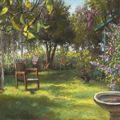 "Garden Retreat with Birdbath (Long Island) 14"" x 21"" pastel on paper"