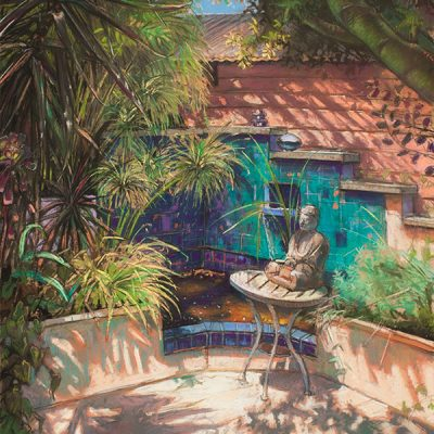 "Garden with Buddha (California) 30"" x 22"" pastel on paper"