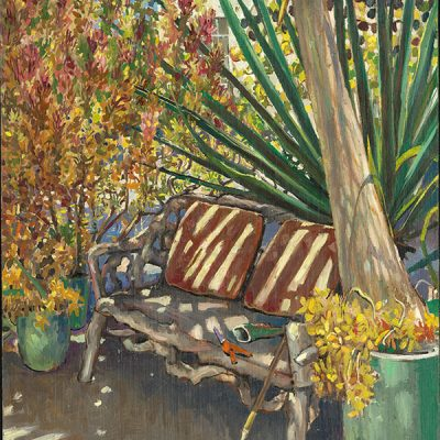 "Gardener's Bench (California) 18"" x 14"" oil on board"
