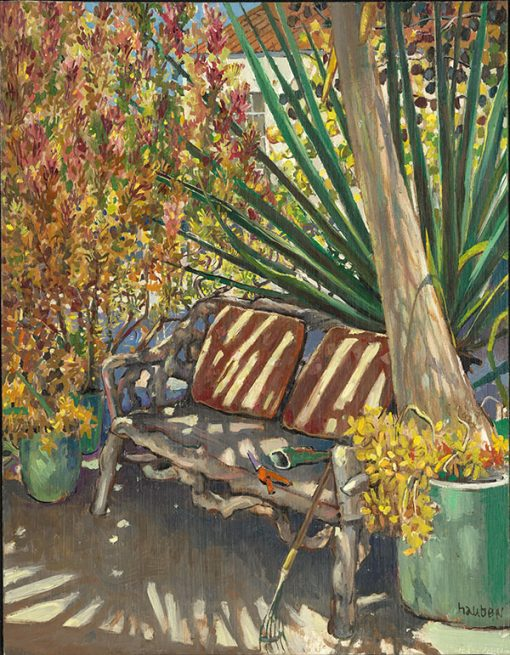 "Gardener's Bench (California) 18"" x 14"" oil on board"