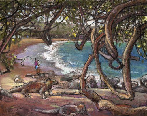 "Iguana Crossing (Ecuador) 9"" x 11"" pastel on paper"