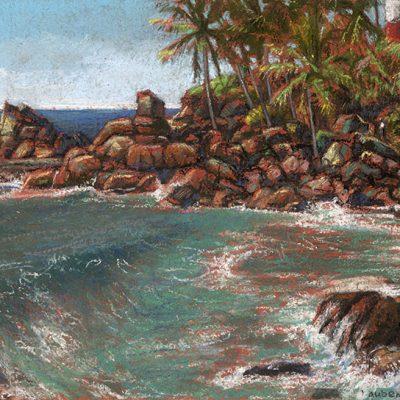 "Kovalom Shore (India) 10"" x 15"" pastel on paper"