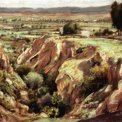 "La Rambla (Spain) 20"" x 26"" pastel on paper"