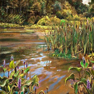 "Marsh Lilies (Virginia) 24"" x 18"" pastel on paper"