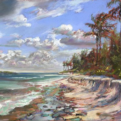 Shoreline-and-Clouds-Bahamas-13x19-pastel-