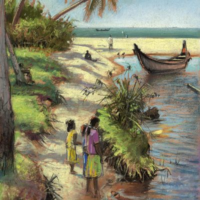 "Thumboli Village I (India) 15"" x 11"" pastel on paper"