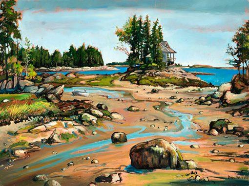 """Tidal Island (Maine) 18"""" x 24"""" oil on wood"""
