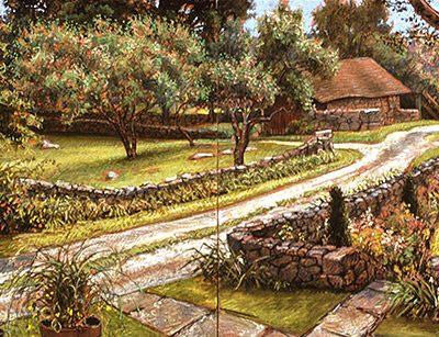 "Weir Farm (Connecticut), 20"" x 52"" pastel on board, 2 panels"
