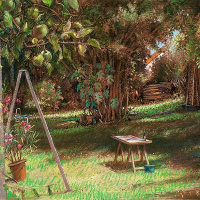 "Yard with Apple Tree (Germany) 22"" x 30"" pastel on paper"