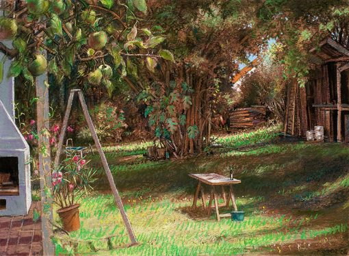 """Yard with Apple Tree (Germany) 22"""" x 30"""" pastel on paper"""